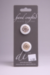 White Circle Button with Gold Flower