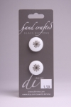 White Circle Button with Black Flower Pattern