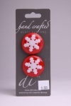 Red Circle Button with White Snowflake Pattern