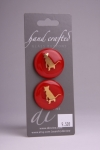 Red Glass Button with Gold Cat