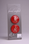 Red Glass Button with Silver Fairy