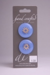 Periwinkle Blue Circle Button with Gold Burst Pattern