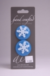 Blue Circle Button with White Snowflake