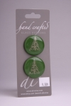 Green Circle Button with White Christmas Tree Design