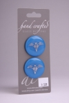 Royal Blue Circle Button with Silver Angel Design