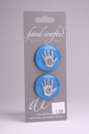 Royal Blue Circle Button with Silver Handprint Design