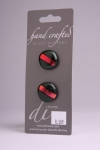 Red with Metallic Red - Set of 2 Glass Buttons