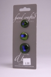 Olive Green with Blue Detail - Set of 3 Glass Buttons