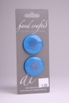 Royal Blue Circle Button with Silver Leaf Design