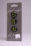 Black with Yellow Detail - Set of 3 Glass Buttons