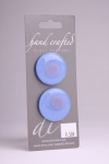 Periwinkle Blue Circle Button with Gold Leaf Design