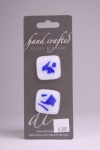 White with Blue Design - Set of 2 Glass Buttons