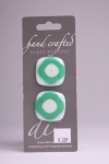 White with Teal Design - Set of 2 Glass Buttons