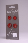 Glossy Red - Set of 4 Glass Buttons