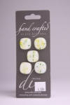White with Green and Yellow Detail - Set of 5 Glass Buttons