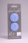 Periwinkle Blue Circle Button with White Wheel Design