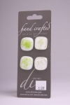 White with Light Green Specs - Set of 4 Glass Buttons