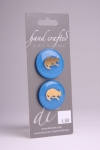 Royal Blue Circle Button with Gold Cat Design