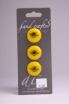 Yellow Circle Button with Black Bumblebee Design