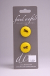 Yellow Circle Button with Black Horse Design
