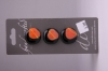 Black Button with Orange Design - Set of 3