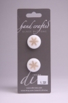 White Circle Button with Gold Snowflake Pattern