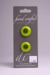 Green Button with Black Flower