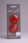 Red Glass Button with Silver Rooster