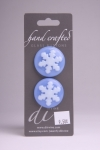 Periwinkle Blue Circle Button with White Snowflake Pattern