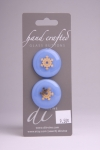 Periwinkle Blue Circle Button with Gold Snowflake Pattern