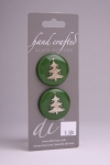 Green Circle Button with White Christmas Tree