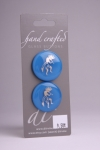 Royal Blue Circle Button with Silver Musician Design