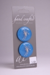 Royal Blue Circle Button with Silver Fairy Design