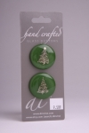 Green Circle Button with a White Christmas Tree Design