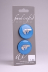 Royal Blue Circle Button with Silver Bear Design