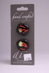 Black with Red and Cream Detail - Set of 2 Glass Buttons