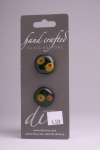 Dark Green with Small Figures - Set of 2 Glass Buttons