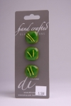 Green with Yellow Design - Set of 3 Glass Buttons