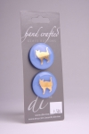 Periwinkle Blue Circle Button with Gold Cat Design
