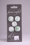 White with Green Design - Set of 5 Glass Buttons