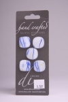 White with Blue Design - Set of 5 Buttons