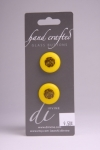 Yellow Circle Button with Black Flower Design