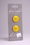 Yellow Circle Button with Gold Flower Design