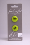Green Circle Button with Black Horse Design