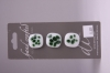 White with Green Pattern Glass Buttons - Set of 3