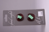 Deep Red with Metallic Teal Design Glass Buttons