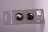 Deep Red with Teal Metallic Design Glass Buttons